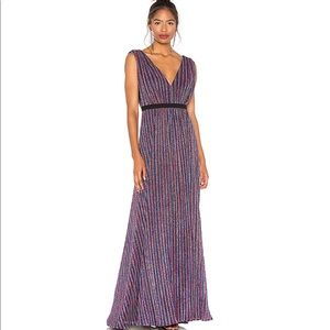 BCBG Pleated Metallic Striped Sparkle Maxi Dress